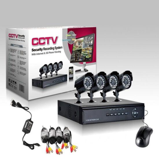 4 kamerás megfigyelő rendszer, megfigyelő központtal és kamerákkal