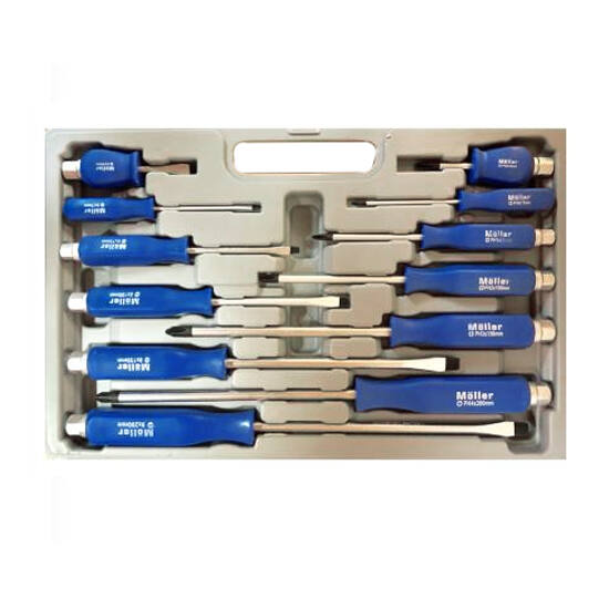MÖLLER 12 részes csavarhúzó készlet kofferrel